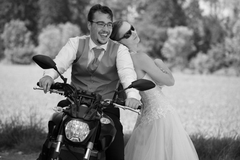 After Wedding Shooting mit Motorrad